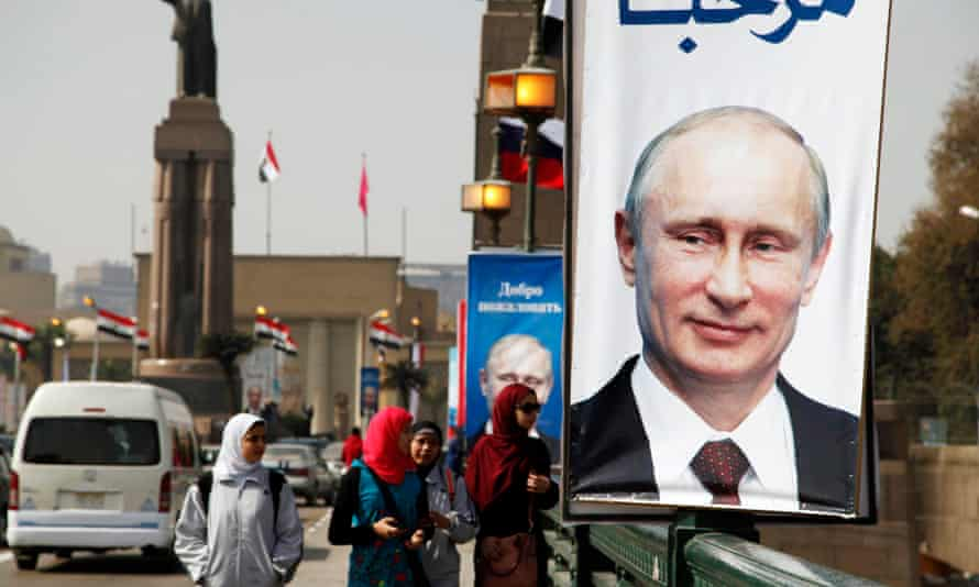Street lined with banners depicting Vladimir Putin