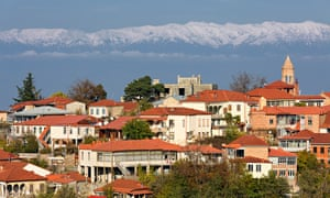 Mountain high: Sighnaghi, a small town in the Kakheti region in Georgia with the Caucasus Mountains in the background. This area is often referred to as the 'birthplace of wine'.