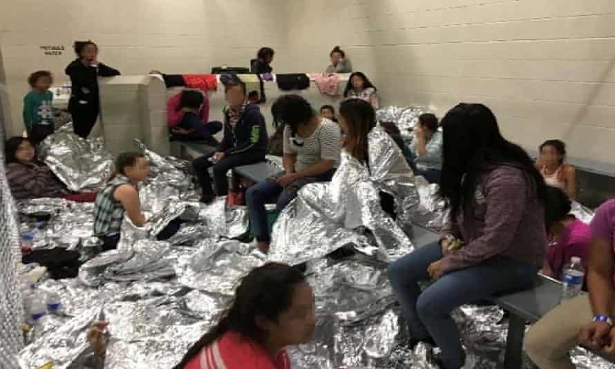 An overcrowded area holding families at a Border Patrol Centralized Processing Center in McAllen, Texas, and released as part of a report by the Department of Homeland Security's Office of Inspector General