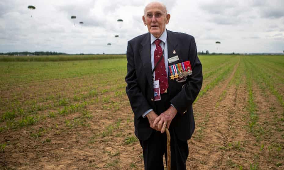 Veteran John Eden, 94, from Silverdale, Lancashire, attends the commemorative parachute descent at Sannerville, France