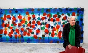 Howard Hodgkin in his studio in front of one of his etchings in the series ... As Time Goes By.