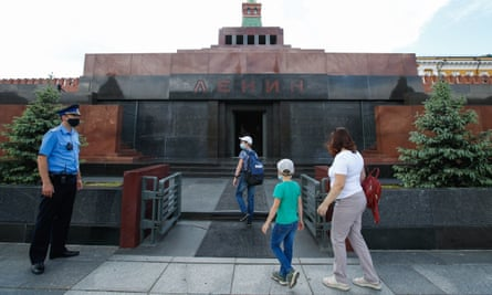 People enter Lenin's Mausoleum in Moscow's Red Square.