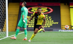 Deeney celebrates after scoring Watford's second penalty