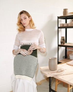 White and green knitted top, £1,450, and white knitted skirt, £1,000, by Loewe