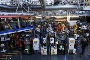 Robots and the automated track in the body shop at the Vauxhall car plant