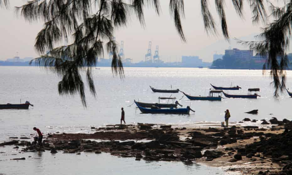 Fishing boats off the coast of George Town, Malaysia