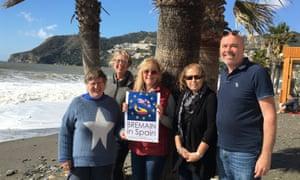 Members of campaign group Bremain in Spain on the beach at La Herradura on the Costa del Sol.