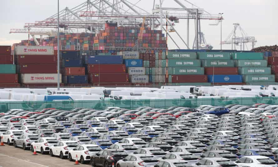 Honda cars lined up in Southampton prior to being loaded on to a car container ship for export