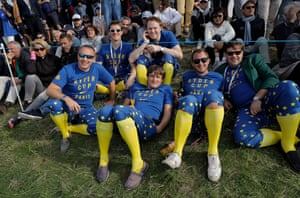 Blue and yellow is the order of the day amongst the European fans.