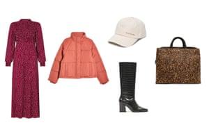 Dress, £145, Jacket, £55, Cap, £75, Boots, £59.99, Bag, £150