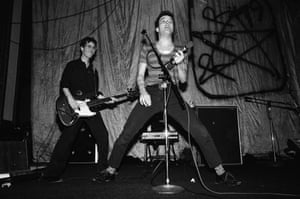 Klaus Fluoride, left, and Jello Biafra of the Dead Kennedys perform at the People's Temple in 1978.
