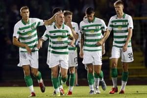 Celtic players celebrate after scoring against Sarajevo