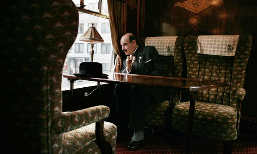 Actor Martin Gaisford as Agatha Christie's Poirot, in a carriage of  the 1928 Orient-Express visiting London in 2010.