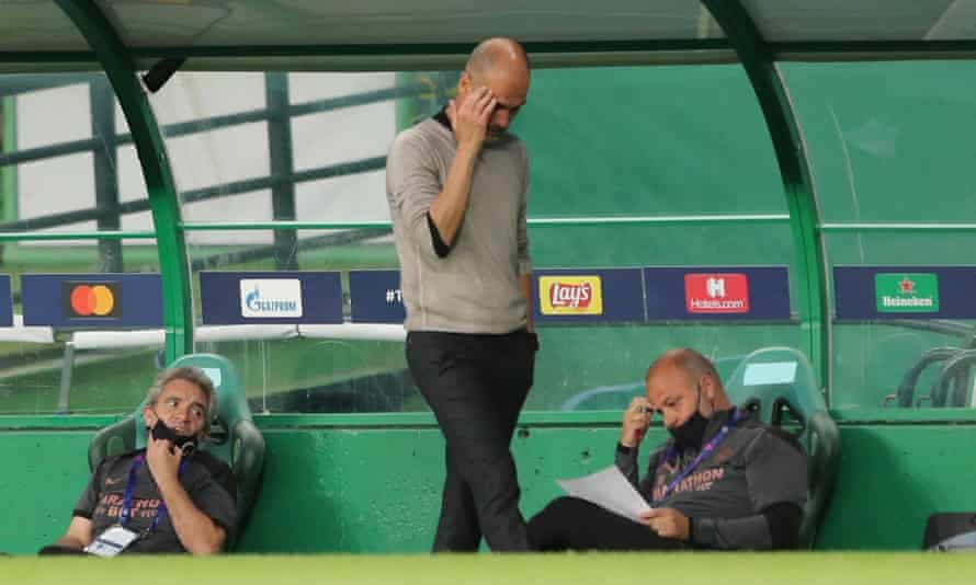 Pep Guardiola during Manchester City's loss to Lyon