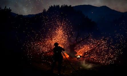 A firefighter sprays a tree as the Bobcat fire burns in Juniper Hills, California, on 19 September.