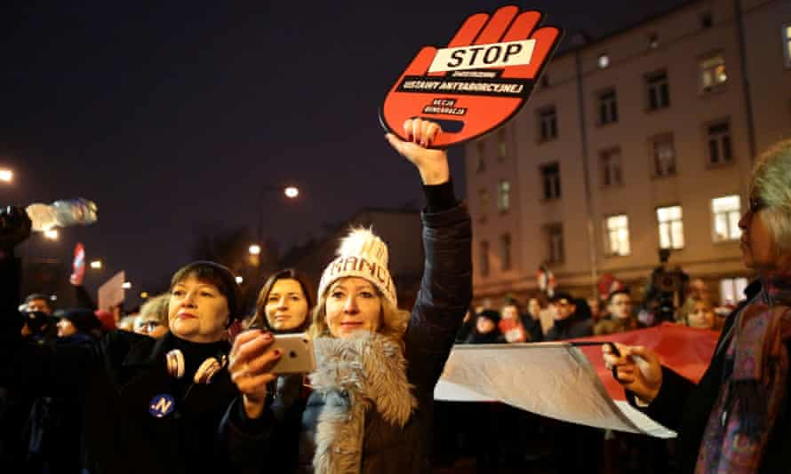 Pro-choice protesters in Warsaw last week.