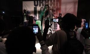 Ganji member Sister LB, whose real name is Selbe Diouf, performs in Dakar.
