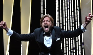 Ruben Oustland enjoys the moment as he is awarded the Palme d'Or for The Square.
