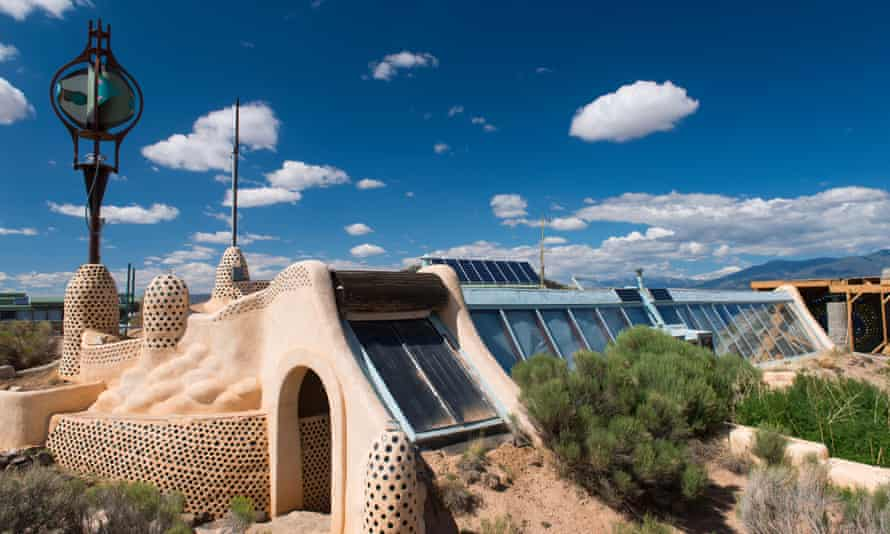 Environmentally friendly solar-powered earthship home near Taos, New Mexico.