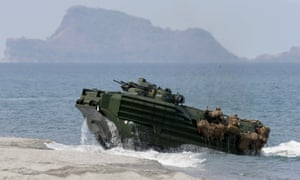 A 2015 exercise in the South China Sea: Philippine and US troops on board a US navy amphibious assault vehicle close to the disputed Scarborough Shoal.