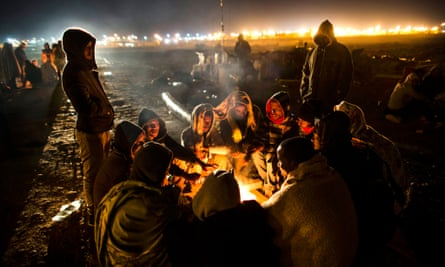 African asylum seekers protest outside Holot detention centre in the Negev desert.