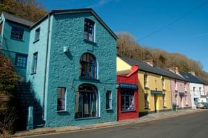 colorful shops Solva Village Pembrokeshire Wales