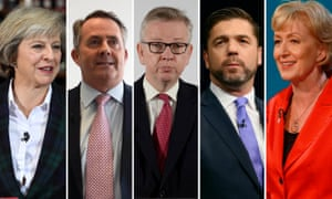 The Conservative leadership candidates: Theresa May, Liam Fox, Michael Gove, Stephen Crabb, Andrea Leadsom.