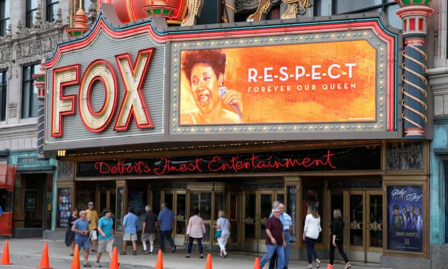 The marquee on the Fox Theatre in downtown Detroit, Michigan, on 16 August.