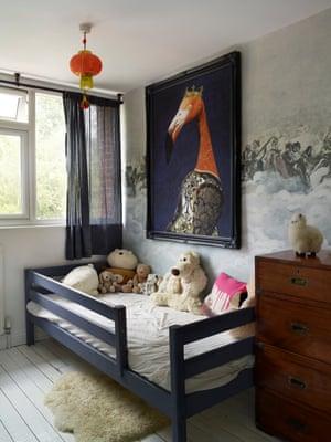 Picturesque childhood: an Angela Rossi flamingo in Antoni's room.
