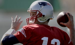 Tom Brady during in a drill in practice before Super Bowl LI.