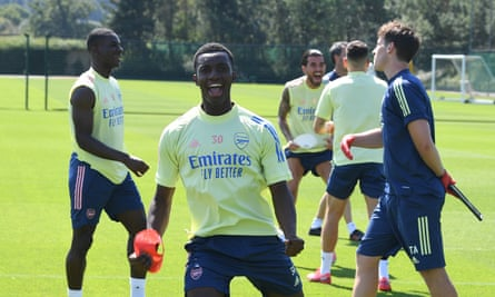 Arsenal's players during training on the eve of the FA Cup final.