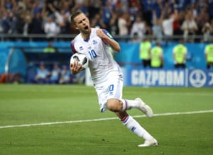 Gylfi Sigurdsson celebrates after scoring his penalty, but it wasn't enough, Iceland failed to reach the World Cup knockout stage for the first time as Croatia secured a late win to top Group D on maximum points.