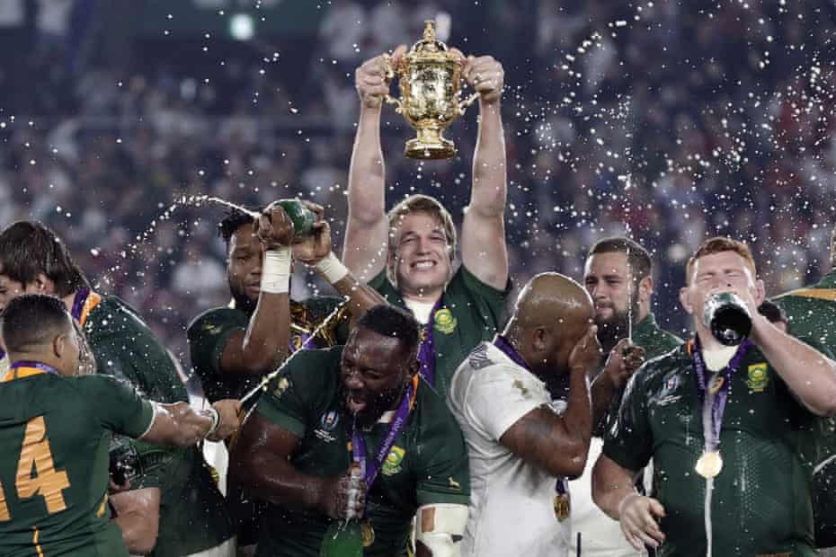 After South Africa beat England in the World Cup final, Peter-Steve du Toit will hold the Web B Ellis Cup.