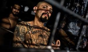 An MS-13 leader in jail in El Salvador.
