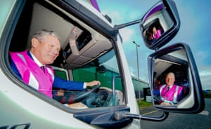 Middleton, UK. The Labour leader, Keir Starmer, sits in the driving seat during a visit to Mantra Learning, an HGV training provider, in Greater Manchester