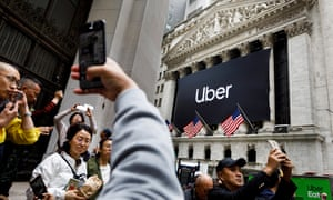 The New York Stock Exchange on the day of Uber's initial public offering, 10 May 2019.