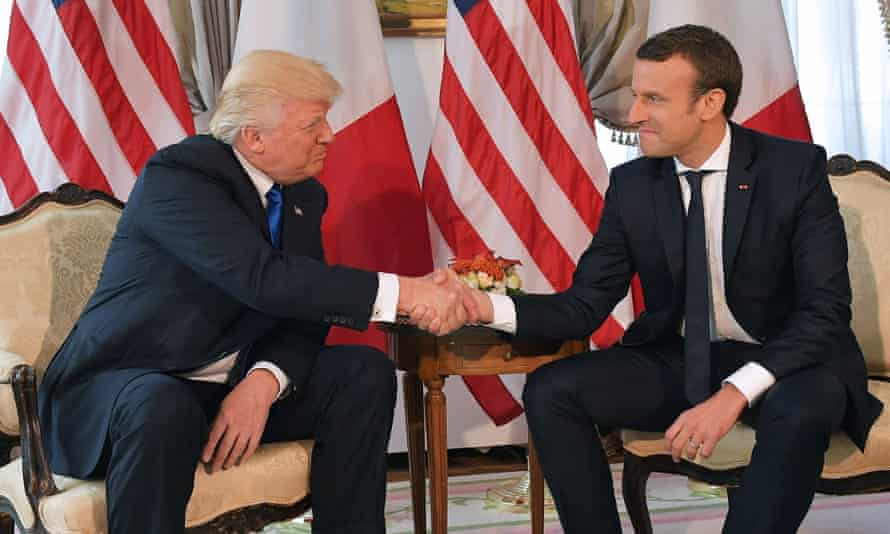 US president Donald Trump and French president Emmanuel Macron shake hands on 25 May 2017.