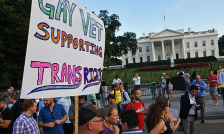 Protesters gather in front of the White House