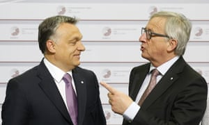 Viktor Orbán (l) with the European commission president, Jean-Claude Juncker