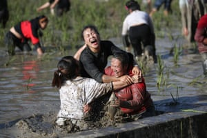 Guizhou, China Contestants take part in a fish catching competition in a paddy field in Leishan county