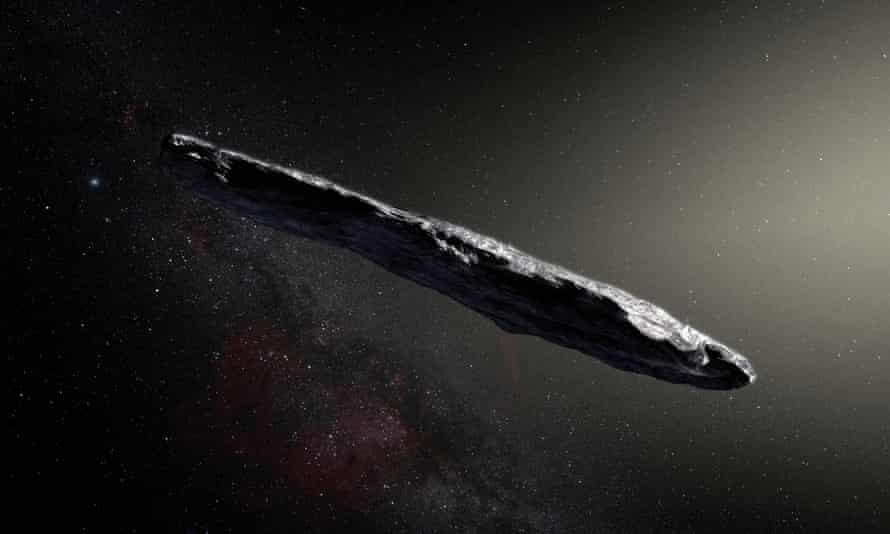 An artist's impression of Oumuamua, which is covered in a deep crust which gives the interstellar object a dark red colour, say researchers.