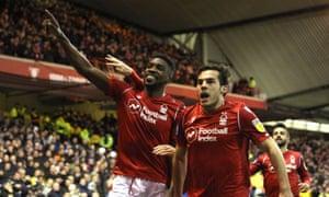 Sammy Ameobi celebrates giving Nottingham Forest the lead against Leeds.