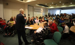 Jeremy Corbyn on a visit to the Birmingham Carers Hub this afternoon.