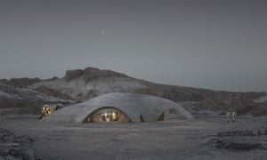 Design company Hassell's vision for a base on Mars, to be built by robots.