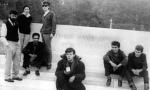 Allan Williams, left, with, from left: his wife, Beryl, Lord Woodbine, Stuart Sutcliffe, Paul McCartney, George Harrison and Pete Best at the Arnhem War Memorial, in the Netherlands, in the early 1960s.