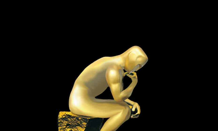 Oscar statue in pose of Rodin's The Thinker