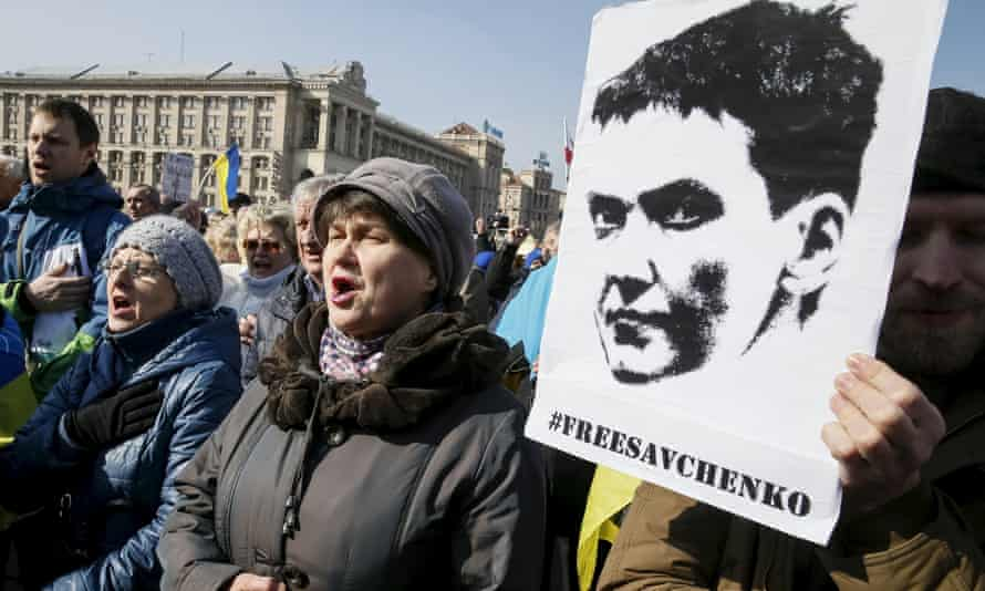 Ukrainians take part in a rally demanding the liberation of army pilot Nadiya Savchenko.