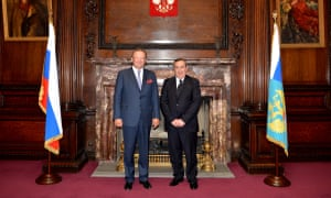 Joseph Mifsud, right, with Alexander Yakovenko, the Russian ambassador to the UK, in a photo taken in 2014. The pair apparently discussed an academic summit in Moscow that Mifsud had attended.