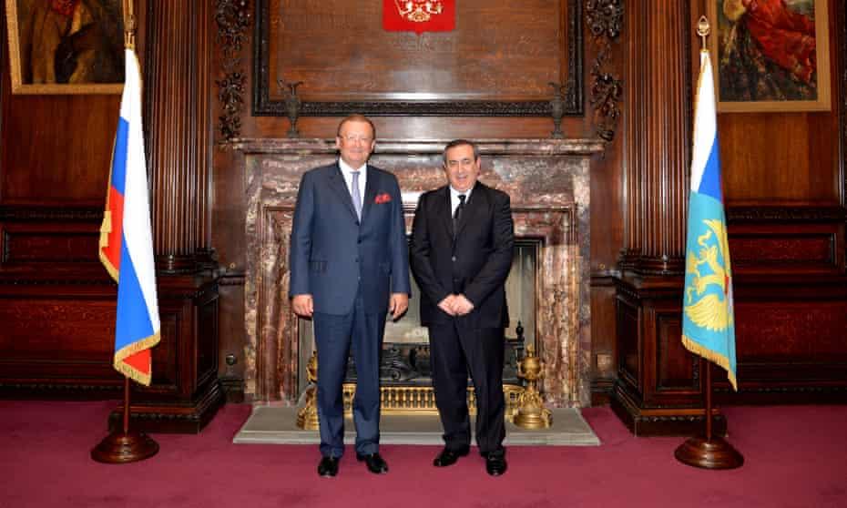 The Russian ambassador to the UK, Alexander Yakovenko, left, with Joseph Mifsud at the Russian embassy.