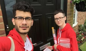 BeLeave campaigners Shahmir Sanni and Darren Grimes the day before the EU referendum in June 2016.